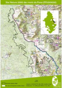 Carte du site des monts du Forez