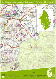 Carte du site des puys de Pileyre et Turluron