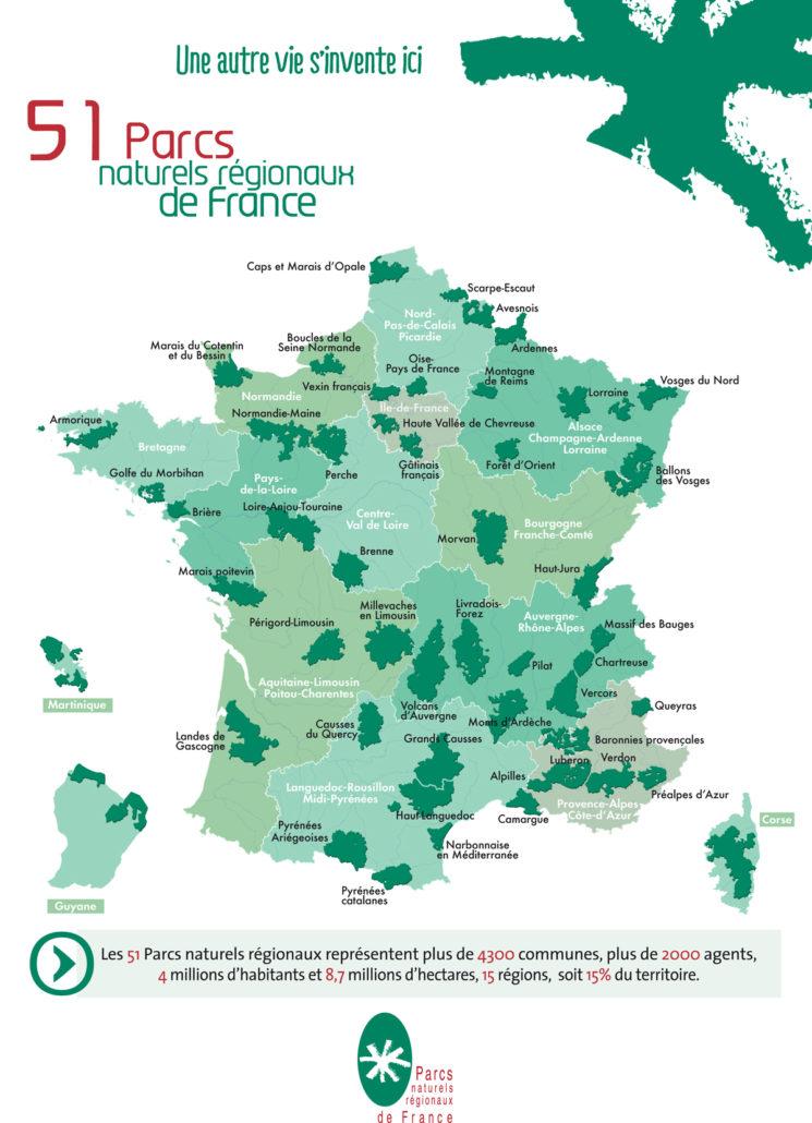 Carte Parcs naturels régionaux de France
