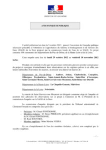 Avis d'ouverture de l'enquête publique - 2012