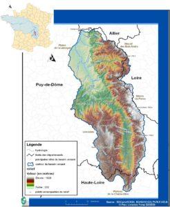 Localisation et topographie du bassin versant de la Dore - 2008
