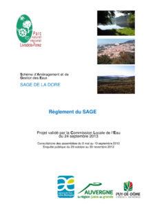 Règlement du SAGE de la Dore approuvé - 2013