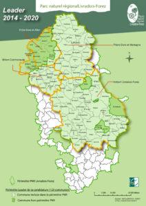 Carte du territoire éligible à LEADER 2014-2020