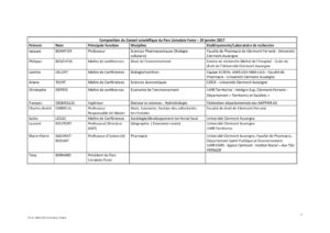 Tableau de composition du conseil scientifique délibération du 24-01-2017