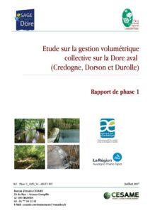 Rapport de phase 1 de l'étude sur la gestion volumétrique collective sur la Dore aval - 2017