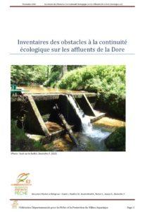 Inventaires des obstacles à la continuité écologique sur les affluents de la Dore - 2010