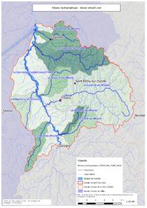 Carte du réseau hydrographique du contrat territorial Dore aval - 2015