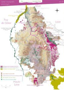 Carte des sites NATURA 2000 du Parc Livradois-Forez