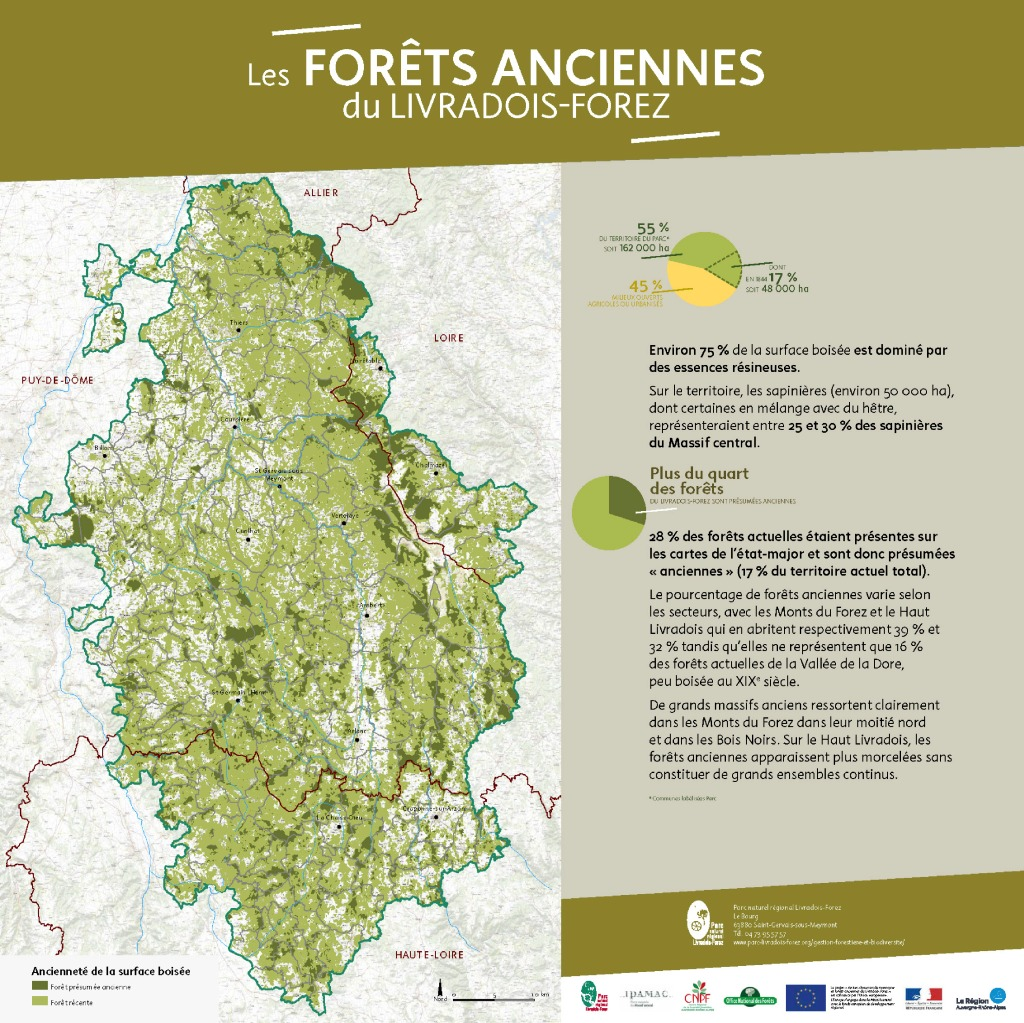 Carte des forêts anciennes du Livradois-Forez (PDF - 1Mb - nouvel onglet)