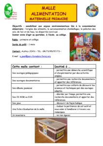 Malle alimentation maternelle primaire