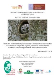 thumbnail of Effets des relations interspécifiques sur l'utilisation de l'espace chez la chouette de Tengmalm et la Chevêchette d'Europe dans le Massif central