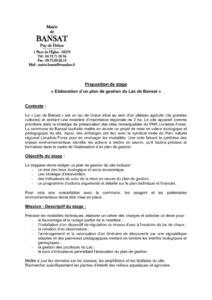 Offre stage Elaboration d'un plan de gestion (PDF - 309Kb)